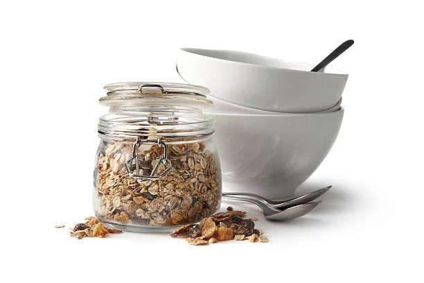 Breakfast Ingredients: Granola Isolated on White Background:スマホ壁紙(壁紙.com)