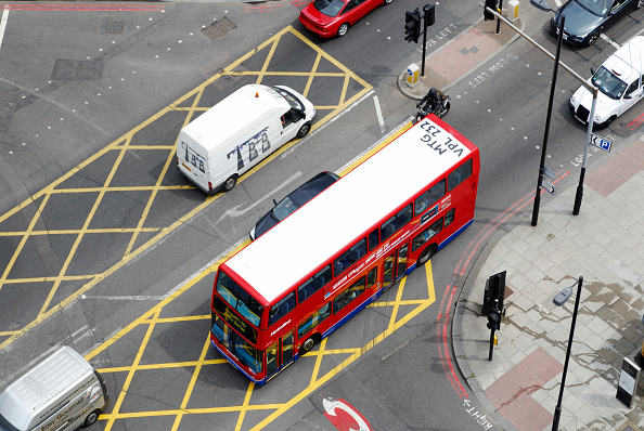 Double-Decker Bus「London red bus with identification number on it's roof, City Road, Finsbury, North London, UK」:写真・画像(6)[壁紙.com]