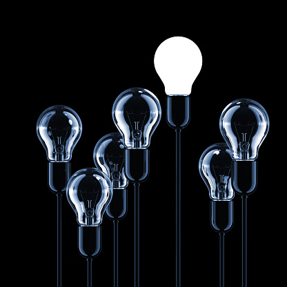 Black And White「Light Bulbs Concept」:スマホ壁紙(13)