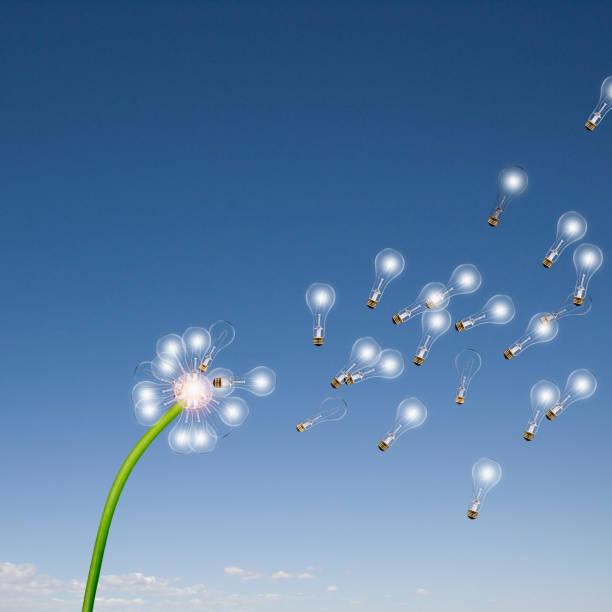 Light bulbs flying off dandelion:スマホ壁紙(壁紙.com)