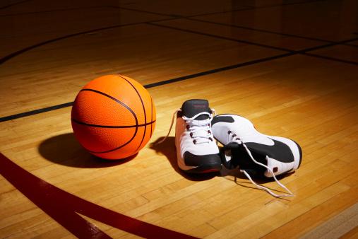 Shoe「Basketball and sports shoes on basketball court」:スマホ壁紙(2)