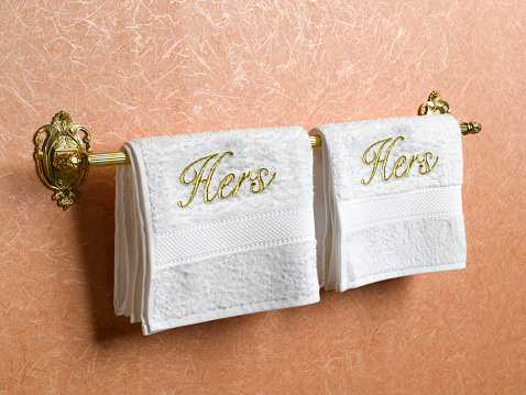 Embroidery「Hers and hers towels on towel rail」:スマホ壁紙(6)
