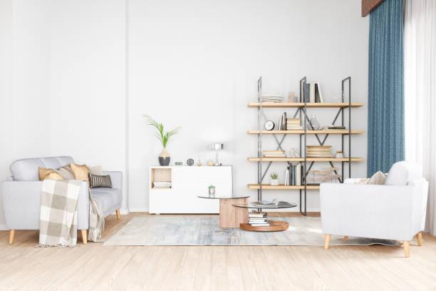 Bookshelf, armchair and sofa in living room:スマホ壁紙(壁紙.com)