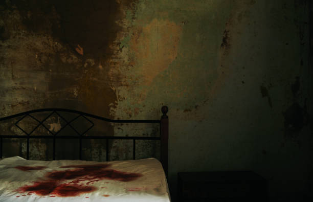 A gloomy room with bloodstained mattress on the bed.:スマホ壁紙(壁紙.com)