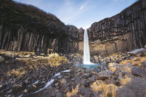 Basalt「Iceland, Sudurland, Svartifoss in Skaftafell National Park」:スマホ壁紙(7)