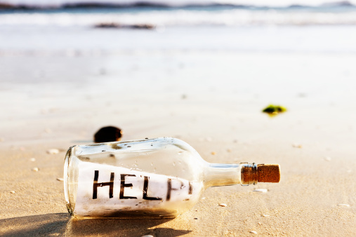 A Helping Hand「Message in a bottle on beach: Help!」:スマホ壁紙(8)