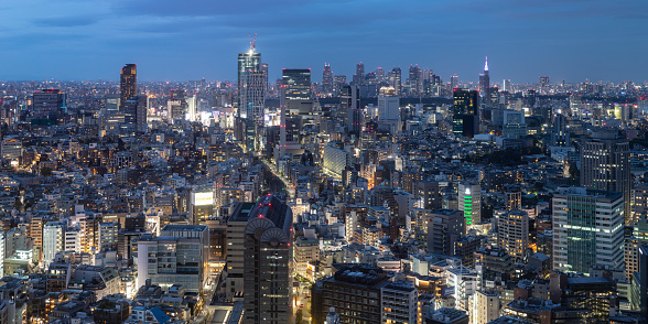 Tokyo Bay「Panoramic aerial of the skyscrapers and crowded cityscape of central Tokyo, Japan's capital city.」:スマホ壁紙(12)