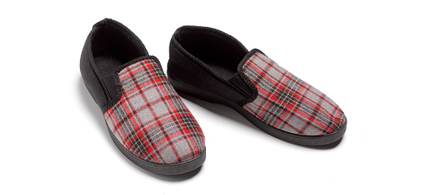 Tartan check「Slippers on white background close up」:スマホ壁紙(18)