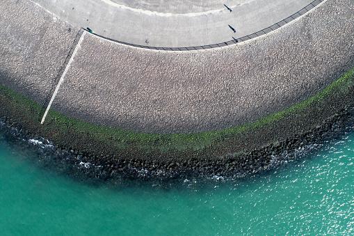 Netherlands「Dyke and coastline - aerial view」:スマホ壁紙(12)