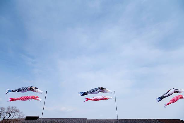 Japanese Carp Streamer Flying in the Blue Sky:スマホ壁紙(壁紙.com)