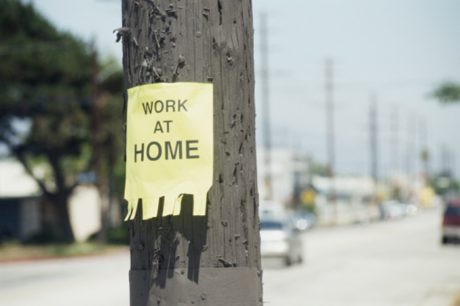 Employment And Labor「Flyer reading 'work at home', posted on telephone pole」:スマホ壁紙(12)