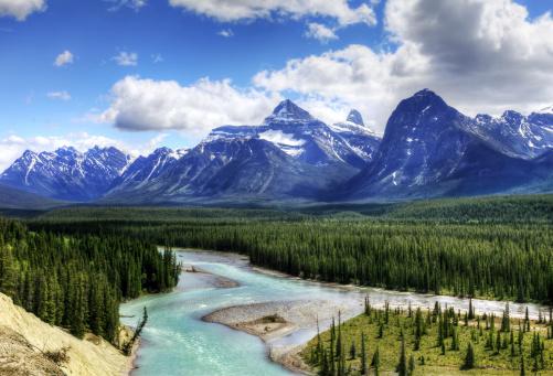 Athabasca River「Jasper National Park Landscape - HDR」:スマホ壁紙(1)
