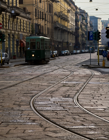 Avenue「Cable Car on Cobblestone Milan Street. Color Image」:スマホ壁紙(15)