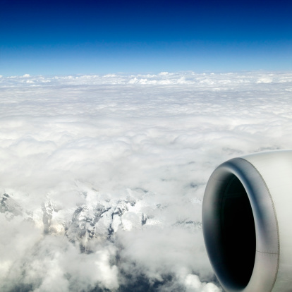 Himalayas「Aeroplane flying above cloud line, view through cabin window」:スマホ壁紙(12)