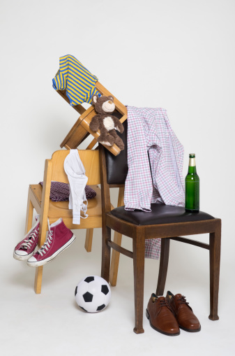 Shoe「Clothes on chair with toys and shoes on white background」:スマホ壁紙(15)