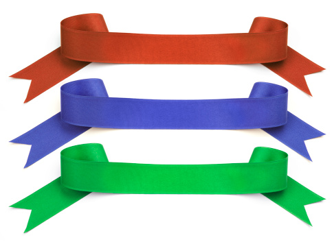 Birthday「Ribbon Banners; Bright Red, Blue, Green, Clipping Path, White Background」:スマホ壁紙(17)