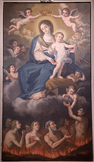 Hell「Church painting in Uggiano la Chiesa, Italy. Virgin and child above sinners in hell.」:スマホ壁紙(15)