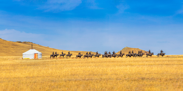 Orkhon Valley「Mongolian yurt on a field」:スマホ壁紙(2)
