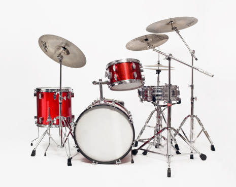 Musical Instrument「A Red Drum Kit on a plain white background」:スマホ壁紙(14)
