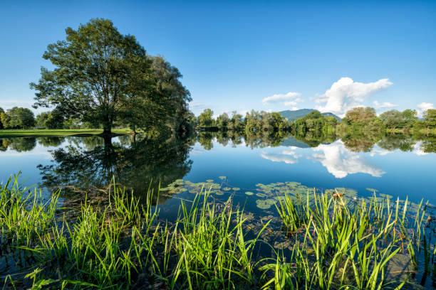 Beautiful landscape with idyllic lake and reflections:スマホ壁紙(壁紙.com)