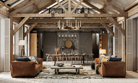 Chalet「Beautiful living room interiors of a winter cottage in 3d」:スマホ壁紙(11)