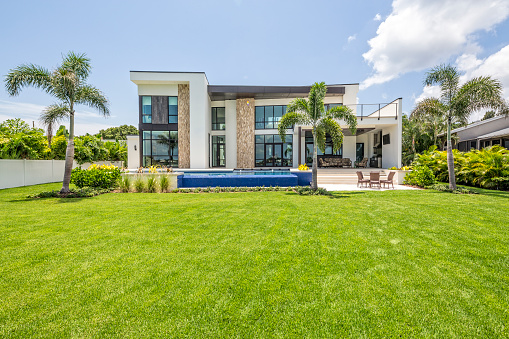 Palm tree「Beautiful Landscaped Modern Home with Swimming Pool and Sitting Area」:スマホ壁紙(4)