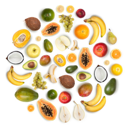 Orange - Fruit「Healthy fruits arranged in a round composition on white background」:スマホ壁紙(13)