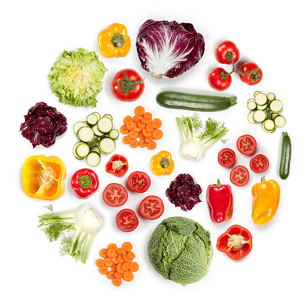 健康的なフルーツと野菜のラウンドシェイプを白背景:スマホ壁紙(壁紙.com)