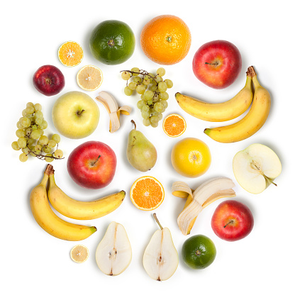 Grape「Healthy fruits circular arrangement, white background:  apples, bananas, lemons」:スマホ壁紙(12)