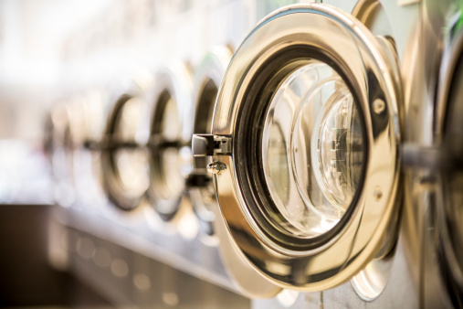 Sepia Toned「Washing machines - clothes washer's door in a public launderette」:スマホ壁紙(7)