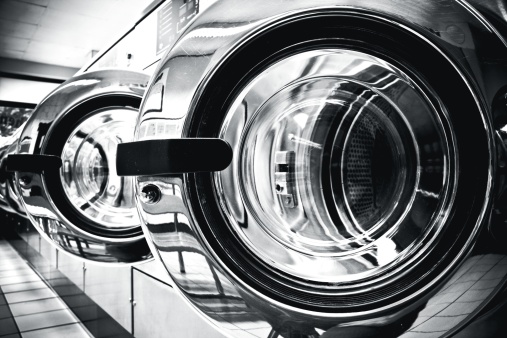 Dry Cleaned「Washing machines - clothes washer's door in a public launderette」:スマホ壁紙(14)