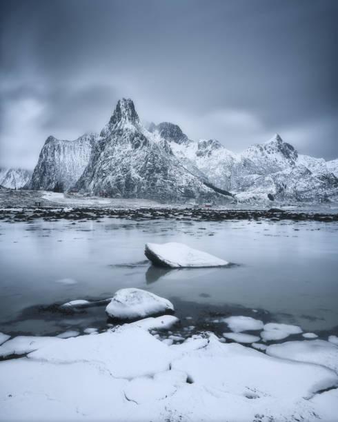 Snowcapped mountains and fjord, Lofoten, Norway:スマホ壁紙(壁紙.com)