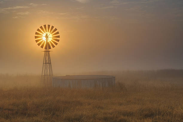 Windmill Backlit at Sunrise in the Mist and Fog of a Cold Winter Morning, Free State Province, South Africa:スマホ壁紙(壁紙.com)