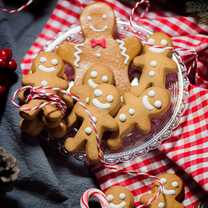 Tartan check「Christmas Candy Cookie Parade - Gingerbread Men」:スマホ壁紙(18)