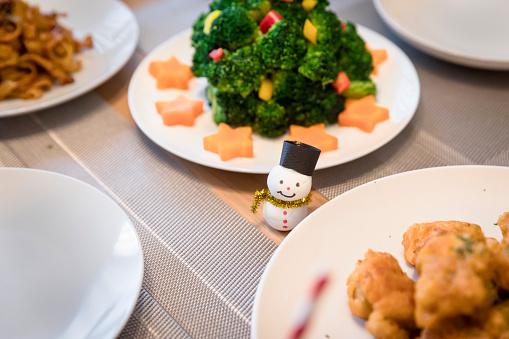 雪だるま「クリスマス料理とテーブルの上の雪だるまの人形」:スマホ壁紙(4)