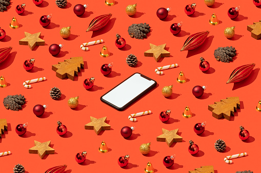 Touch Screen「Christmas concept flat lay with blank screen smart phone mockup, template」:スマホ壁紙(14)