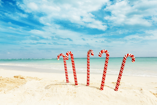 Mayan Riviera「Christmas Candy Canes on Tropical Caribbean Beach Winter Travel Holiday」:スマホ壁紙(17)