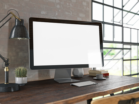 Template「Workspace with Blank Computer Screen」:スマホ壁紙(2)
