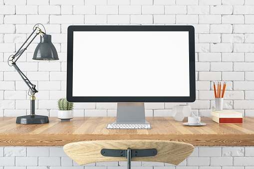 Computer Monitor「Workspace with Blank Computer Screen」:スマホ壁紙(12)
