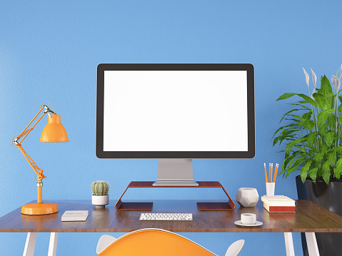Computer Mouse「Workspace with Blank Computer Screen」:スマホ壁紙(1)