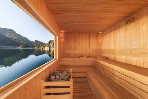 Relaxation「Sauna with mountain and lake view」:スマホ壁紙(10)