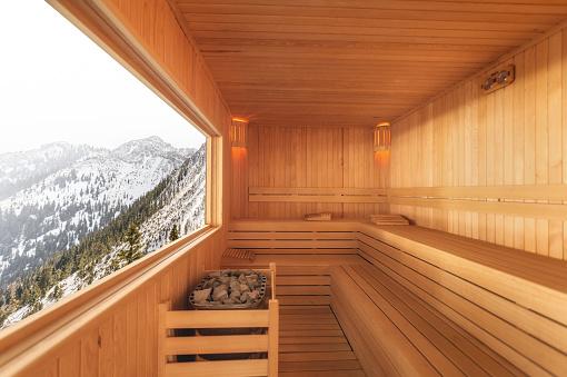 Electric Heater「Sauna with snowy mountain view」:スマホ壁紙(15)