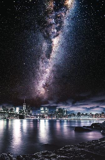 star sky「ニューヨーク市のスカイライン以上星」:スマホ壁紙(1)