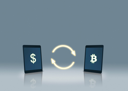 Cryptocurrency「Dollar and bitcoin symbols on tablets」:スマホ壁紙(11)