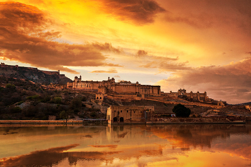 Rajasthan「Amer Fort at Sunset in Jaipur, India」:スマホ壁紙(11)