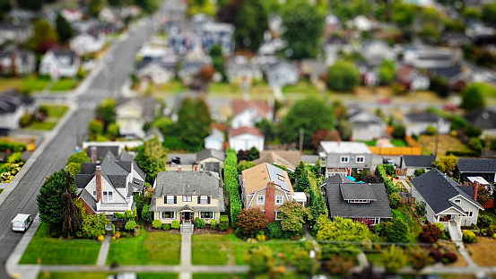 Building Exterior「American Suburban Neighborhood Tilt-shift Aerial Photo」:スマホ壁紙(2)