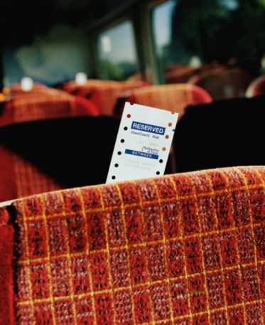 Reserved Sign「Reserved seat ticket in train car, close-up」:スマホ壁紙(15)