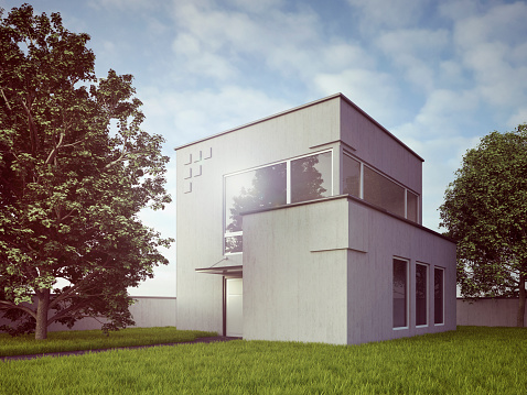 Outdoors「View to modern detached one-family house, 3D Rendering」:スマホ壁紙(17)