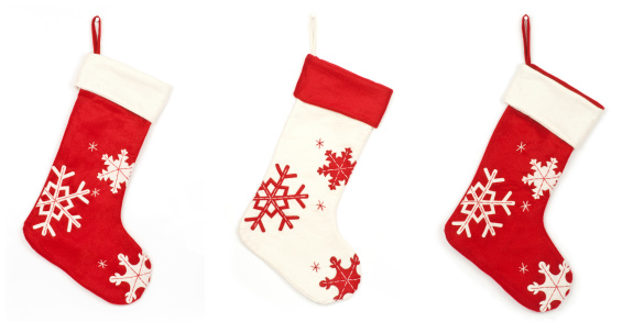 Christmas Decoration「Thress Christmas stockings with shadow on white background」:スマホ壁紙(0)