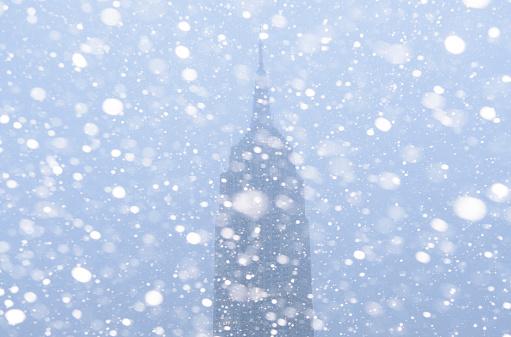 吹雪「USA, New York State, New York City, Empire State Building in snow」:スマホ壁紙(18)